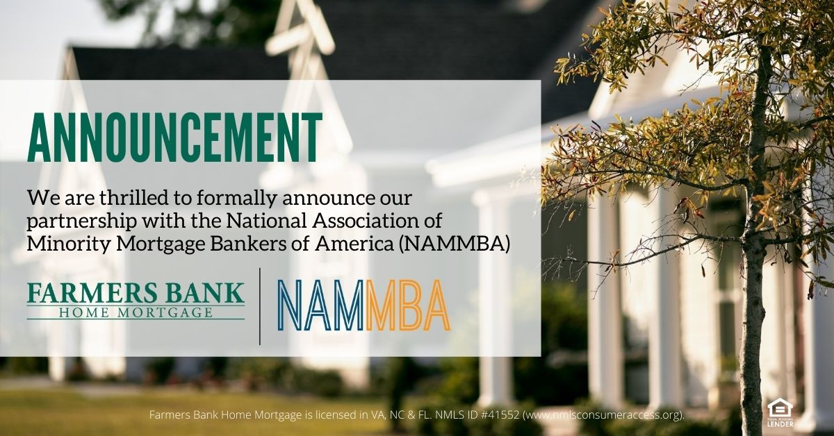 Farmers Bank Home Mortgage, an affiliate of Tidewater Home Funding, LLC., Announce Partnership with NAMMBA